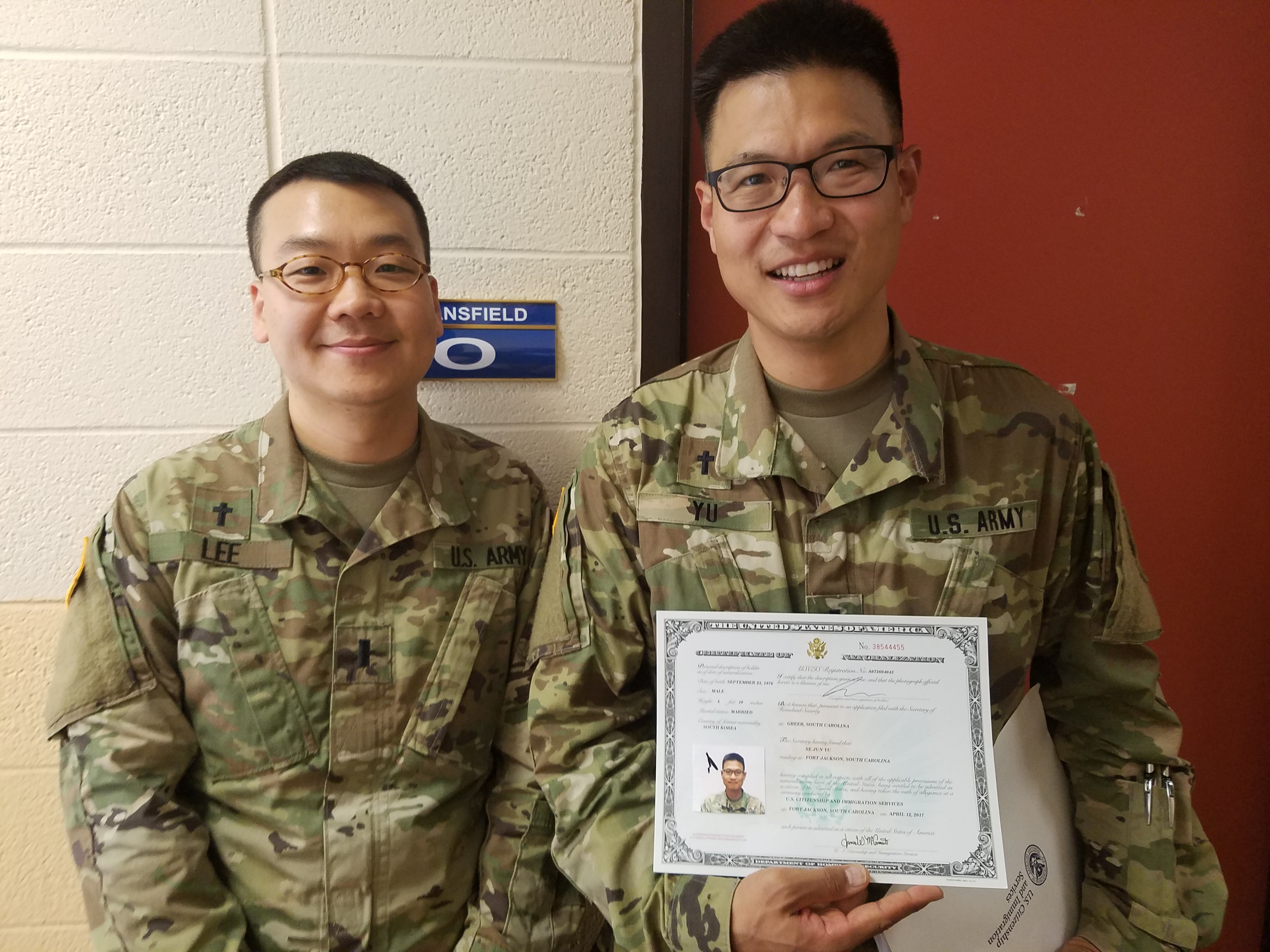 Evangelical church alliance international chaplain yu naturalized through the department of homeland security april 13 2017 with chaplain lee slated for naturalization the next week xflitez Images